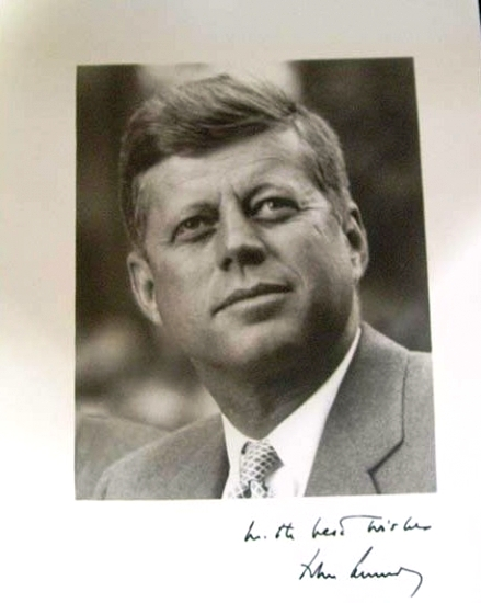 An autographed photograph of President john. F. Kennedy would fall under the personal value category. He toughed it while signing it.