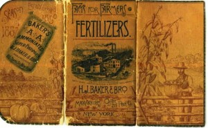 "The unfolded cover of the ""Farmer's Pocket Notebook/Almanac,"" distributed by H.J.Baker & Bro, Fertilizer dealer 1867."