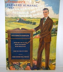 """1931 """"Farmer's Almanac"""" published by Armour Fertilizer Works, Chicago. Almanacs adopted science over astrology, as this example encouraged farmers to """"Hitch Science To Your Plow."""" It has a page of the fertilizer tonnage by years starting in 1880, Morning and Evening Stars, 1931, Ember Days for 1931, cartoons, etc."""