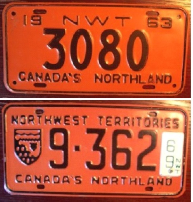 Early Northwest Territories license plate were pretty basic in orange with black letters and numbers.