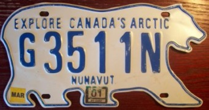 """In 1999, the eastern three-fifths of the Northwest Territories separated and became a new territory called """"Nunavut."""" After a short argument, it was decided and that both would keep the polar bear design for the license plates."""
