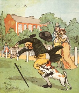 "Color woodcut by Randolph Caldecott for ""Elegy on a Mad Dog,"" 1879. Color woodcut illustrations were made by using a different block of wood for each color. The color had to be perfect since multiple passes were made through the presses for each illustration. Therefore, the detail in the illustrations had to be much simpler."