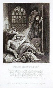 The first illustrated edition of Frankenstein did not appear until 1831. This is the first artist interpretation of the monster.