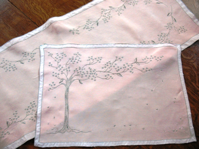 Jacaranda Tree placemat and runner, one of Marghab's more popular patterns.
