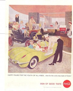 1958 ad with carhop serving Coke to hipster grannies
