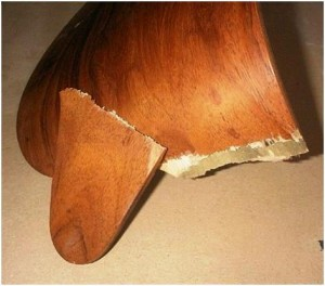 If one side of the lower seat back fails, and the other side remained attached, the weight of the person sitting in the chair can cause it to break the lower wood shell into two pieces.