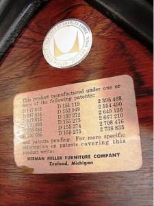 The original round Eames label.