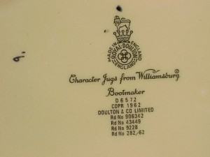The Royal Doulton hallmarks and production information for the bootmaker mug.