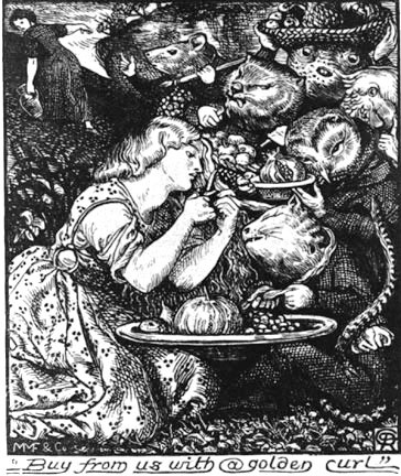 """Illustration by Christina Rossetti's brother, Dante Gabriel Rossetti, for the first edition of """"Goblin Market and Other Poem,"""" 1862."""