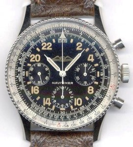 """The Breitling Navitimer """"Cosmonaute"""" with its black dial."""