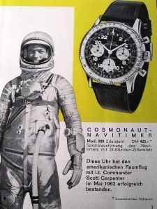 "A German ad for the Breitling ""Cosmonaut"" featuring U.S. astronaut Scott Carpenter."