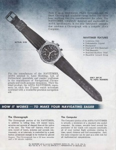 """An advertisement for the Breitling Navitimer, billed as a """"flight computer"""" and chronograph that meets the requirements set by the AOPA—the Aircraft Owners and Pilots Association—of Frederick, Md."""