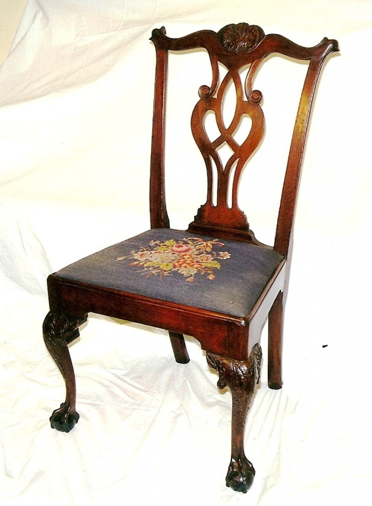 This is a period Chippendale chair, circa 1770.