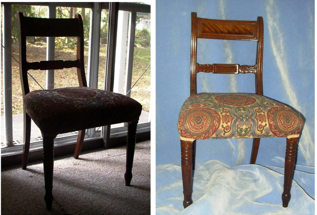 The photo of the chair on the left was taken against an open door. The backlight obliterates the details of the chair. On the right is the same chair using a blanket for a backdrop. Now you can actually see the chair.