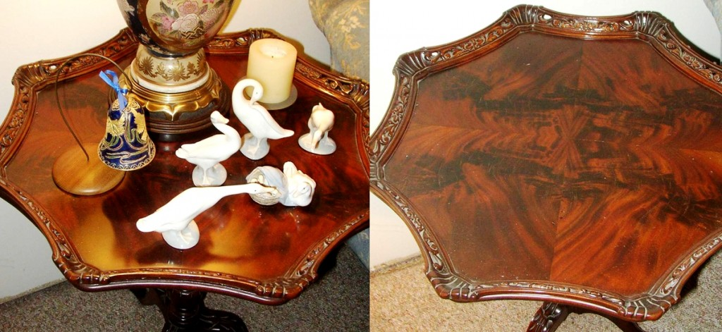 The picture on the left doesn't tell you much about the top of the table, just the Lladro cluttering it. When the table top is cleared you can see the distinctive pattern of crotch cut mahogany.
