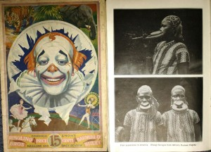Cover and inside page of the 1930 Ringling Bros. and Barnum & Bailey program. The text under the Ubangi photos says: First appearance in America. Ubangi Savages from Africa's Darkest Depths. 1930 Ringling Barnum programs are valued at $30 to $50.