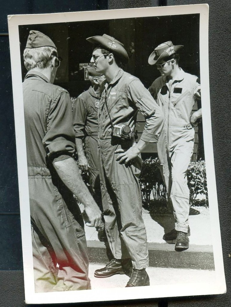 A photo of Bob Lang and other members of the Wild Weasel, and F-4 squadron in Viet Nam.  Will purchased this pilot's flight gear, as well as some 1,000 photos from Ross Kapstein's Garage Sale Warehouse in Atlanta.