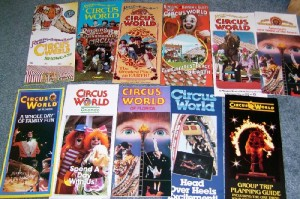 This is a nice selection of brochures from the theme park. Those on the top row have the Ringling Bros. Barnum & Bailey name and those on the bottom row simply say Circus World. These sell from $5 to $10 each. Groupings have sold for $20 to $30 on eBay.