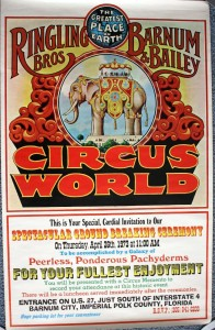 This colorful poster was an invitation to the media and VIPs to attend the historic ground breaking for Circus world. Those who attended the groundbreaking received a paper weight and media kit which contained numerous informational releases and photos about the park. The Media Kit and Paper Weight are valued at $25-$30. The poster is valued at $50 to $75.