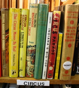 The booth set up by Double A Books of Bradenton, Fla., featured several circus books.