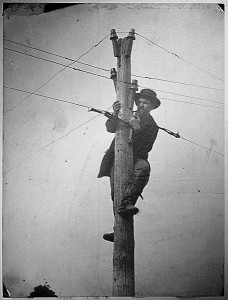 A member of the U.S. Military Telegraph Corps tending to the all-important wires.