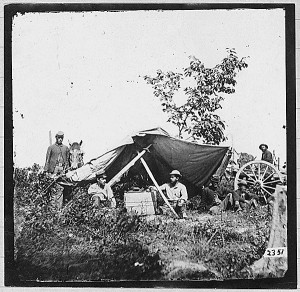 A telegraph operation set up in the field. The telegraph was used during the Civil War by Union forces to coordinate widely dispersed units.