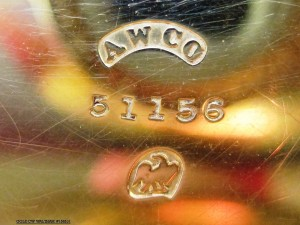 """The case marking of a gold Waltham was an American eagle, but also dubbed the """"broken-wing chicken."""" This is the typical marking for an American Civil War-era watch, gold or silver."""