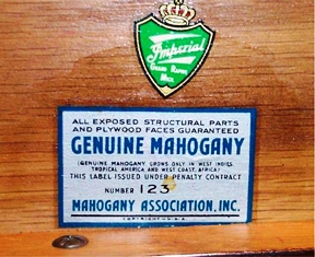 This Mahogany Association label bears the number 123: the member number of the Imperial Furniture Co of Grand Rapids.