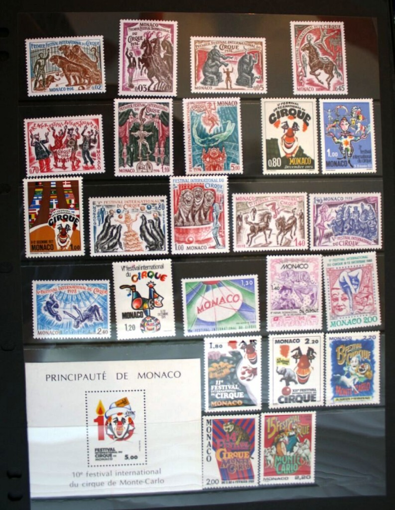 Shown here are the circus stamps from the first 15 Monte-Carlo Circus Festivals. They are displayed on an acid-free black stock sheet inserted in a clear acid-free sleeve that can be inserted in a three-ring binder. All of my single circus stamps are displayed using this method. These stock sheets are available from dealers who sell stamp collector supplies.