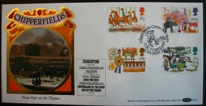 The name Chipperfield is famous in England. The Chipperfield Circus traces its roots to James Chipperfield, who introduced trained animals at the Frost Fair in England in 1684. These four stamps and the colorful cachet celebrate the 300th anniversary of that event. Notice that the London postmark includes the name Chipperfield.