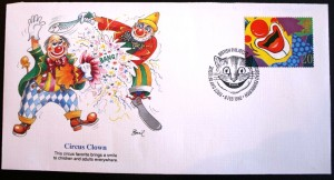 Clown images are frequently seen on stamps. This first day cover of a clown smile was cancelled in Edinburgh, UK in 1990.