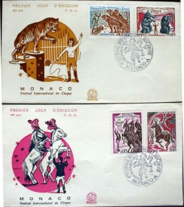 These first day cover envelopes have the seven Monte-Carlo Circus Festival stamps from the premiere year in 1974.
