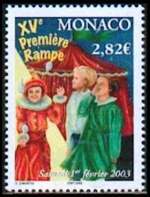 """In 2003 Monaco issued a stamp, """"Première Rampe"""" (First Limelight), to coincide with a show of young circus entertainers."""