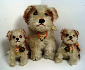 "Three Mollys from 1949-1953. Each has her bear faced chest tag with a red imprint and a small ""US Zone"" tag sew into her hind leg seam."