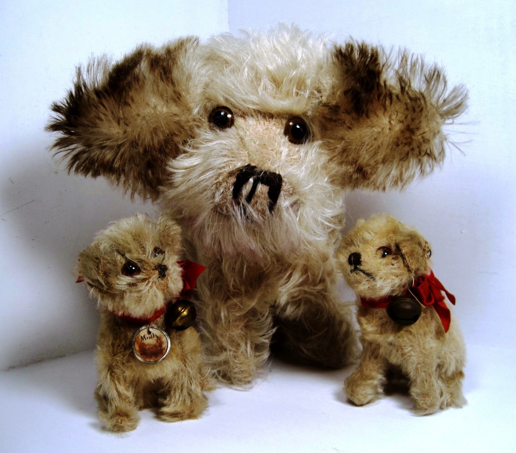 Three Mollys from 1926-1931. Note the white circular chest tag, which only appeared on Steiff items from 1926-1928. The larger Molly is the extremely rare Musical Molly from 1928-1931; only 328 of these pieces were produced.