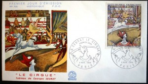 """Artist Georges Seurat (1859-1891) created several circus themed paintings in his final years. """"The Circus"""" was painted in 1891 but was unfinished when he died. In 1969 France issued a stamp of the painting. This first day of cancellation envelope features the Seurat painting. The envelope was cancelled on November 8, 1969."""