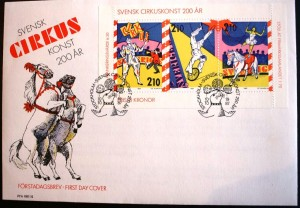 This first day cover was cancelled in Stockholm, Sweden in 1987 to celebrate the 200th anniversary of the circus in Sweden. The stamp on the right pictures Susanne Svenson performing her ballerina on horseback. Together with her husband Carlos Svenson, the pair have performed their act all over Europe and in the American Big Apple Circus, Circus Flora and Ringling Bros. and Barnum & Bailey.