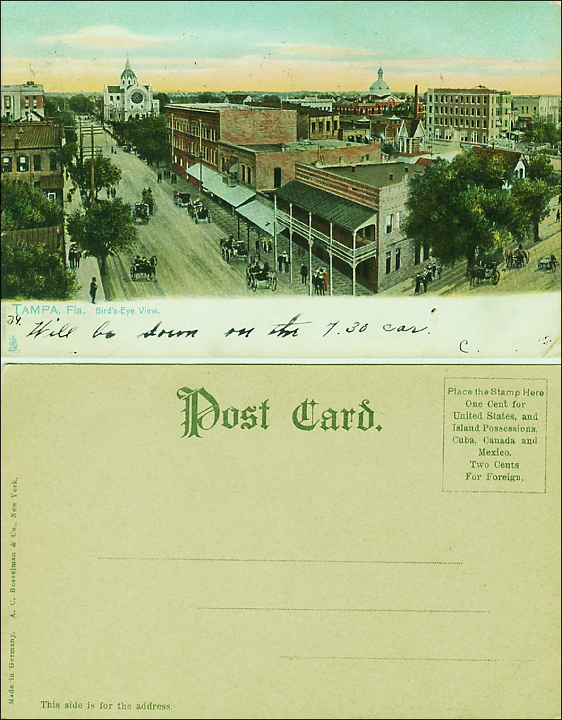 Viewed from the front, this Undivided Back scene of Tampa, Fla. with horse-drawn carriages, has a typical white margin for the writer's message. The back, from a different postcard, allows only the address. Undivided backs (other than scenics and common tourist attractions) are generally valued from $6-$20.