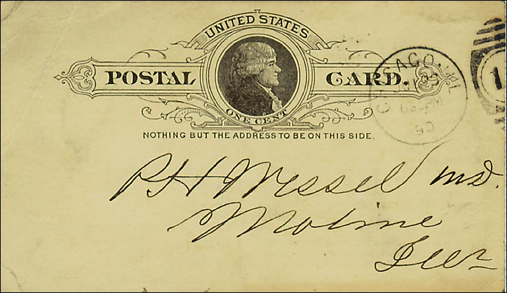 This example of a Pioneer Card has a government Postal Card back and is postmarked 1890.