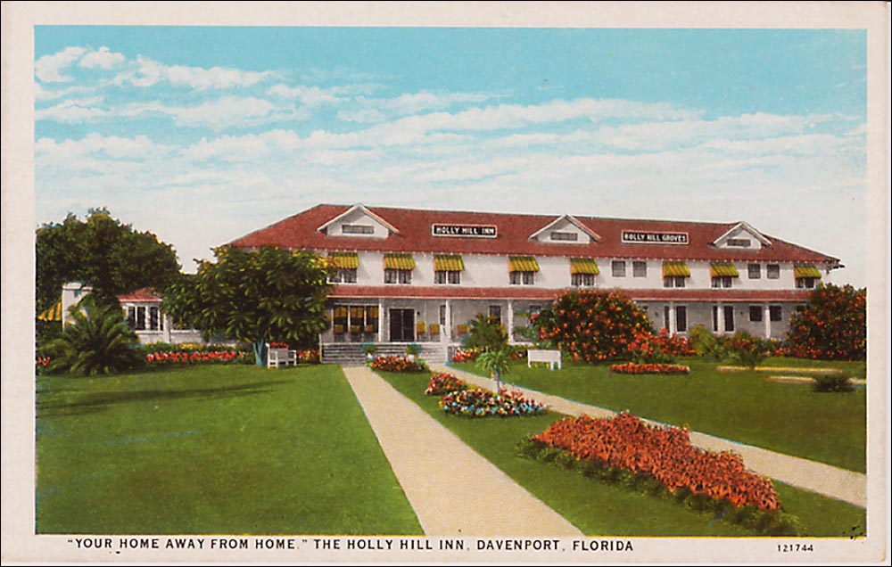 """Typical 1920s White Border card shows """"Your Home Away from Home,"""" the Holly Hill Inn, in Davenport, Fla. Colors are nice and crisp, and the texture is smooth."""