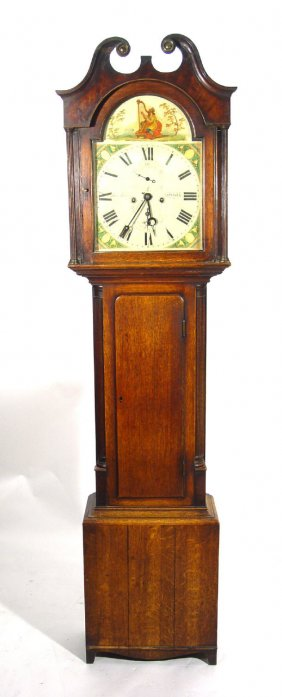 Jennifer picked up this long case clock in Rhode Island. Her thoughts about the age of the clock were correct, but she was off about the origin. It's not Early American but of Scotch manufacture.