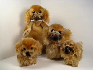 Steiff's Peky Pekingese, produced from 1953-77 in 8, 10, 14 and 22 cm , and rare 18-cm Peky hand puppet from 1963-64.