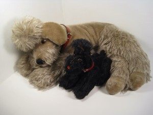 Steiff's Snobby poodle, produced in grey and black from 1953-74 in 10, 14, 22, 35 and 43 cm.