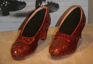 "A pair of the ruby slippers worn by Judy Garland in ""The Wizard of Oz."""
