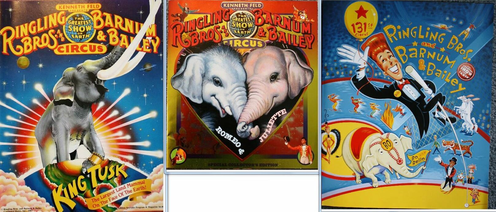 Souvenir programs from three years when Ringling Bros. and Barnum & Bailey featured elephants. These programs are valued at $5-10 each.