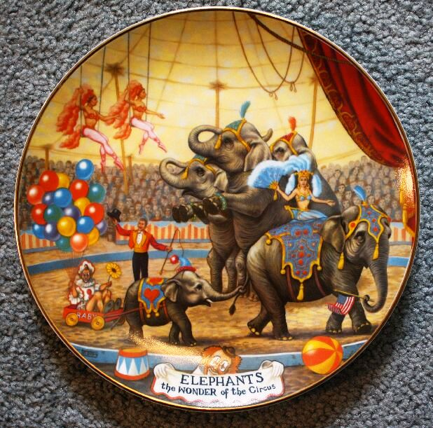 "Collector plates are a very popular licensed Ringling item. The first series, by artist Franklin Moody, was released in 1981. All plates were numbered and came with a certificate. The second plate in the first series was this one entitled ""Elephants—The Wonder of the Circus."" The original price was around $30 but they can sometimes be found on the internet for less than $5."