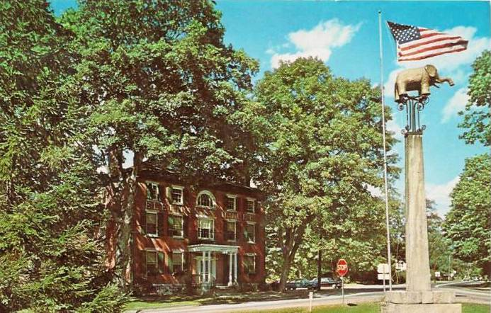 The Elephant Hotel in Somers, N.Y. is now a National Historic Landmark and currently serves as the Somers Town Hall. This recent chrome postcard of the Somers, N.Y. Elephant Hotel and statue can be found for less than a dollar.