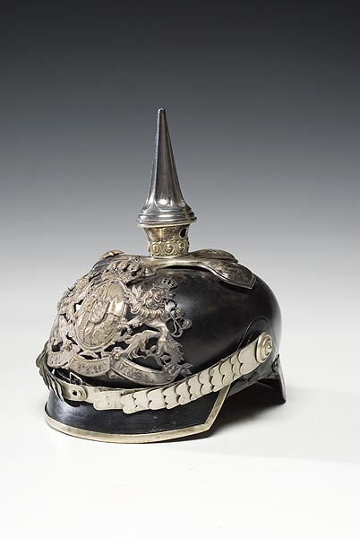 A Bavarian non-commissioned officer's Chevaulegers Regiment No. 1 spiked helmet, with silvered trim, front plate and fluted spike, realized $517.50 in auction in 20080. (Photo courtesy of Cowan's Auctions, Inc., Cincinnati, Ohio)