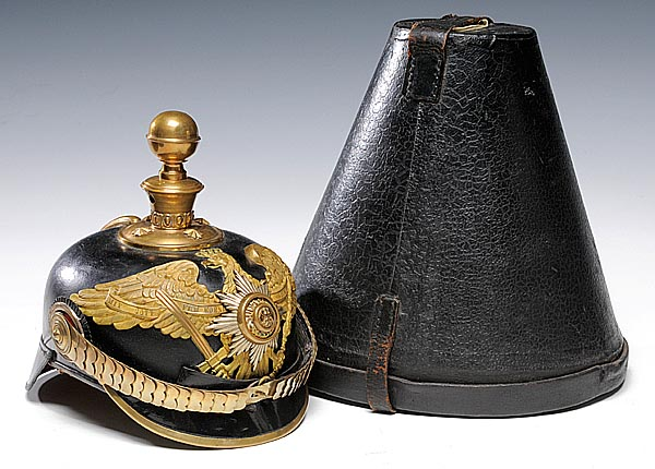 A Garde Artillery officer's spiked helmet with brass chin scales, spike and imperial eagle planchet. The helmet came with its original hat case and sold for $3,450 at auction in 2008. (Photo courtesy of Cowan's Auctions, Inc., Cincinnati, Ohio)