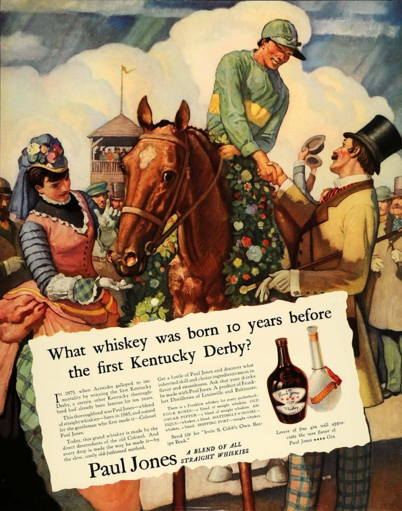 A magazine ad for Paul Jones Whiskey featuring an image and text about the Kentucky Derby. This dates from 1935.